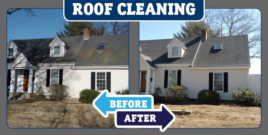 Gray Roof cleaning before and after