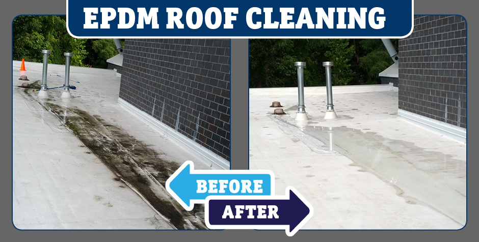 EPDDM roof High wall cleaning before and after