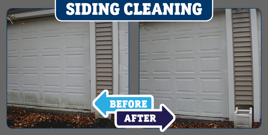 Siding garage door cleaning before and after