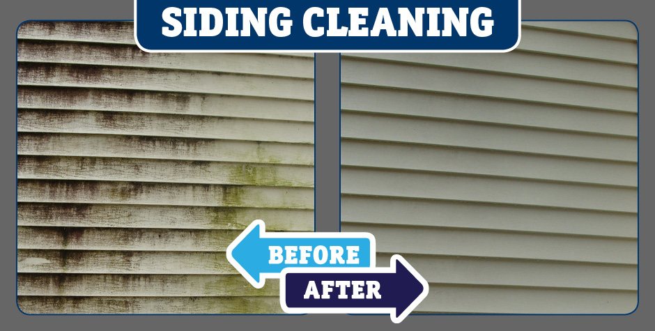 Closeup Siding cleaning before and after