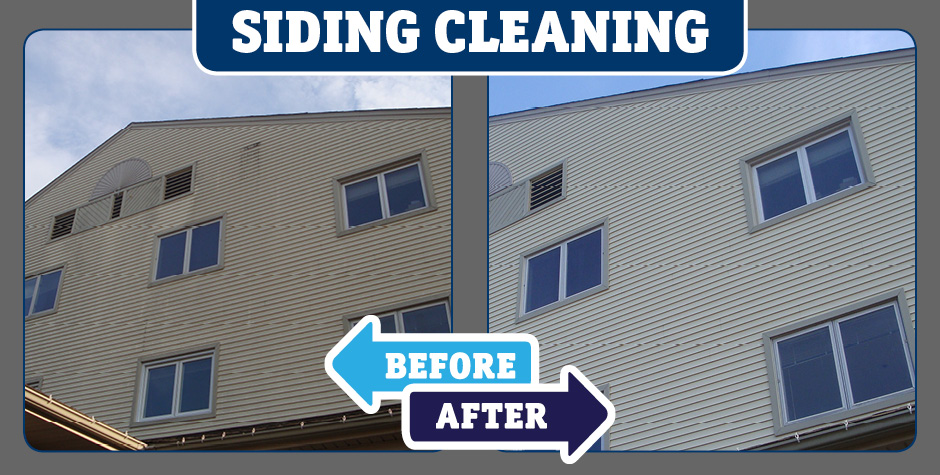High wall siding Closeup Siding cleaning before and after