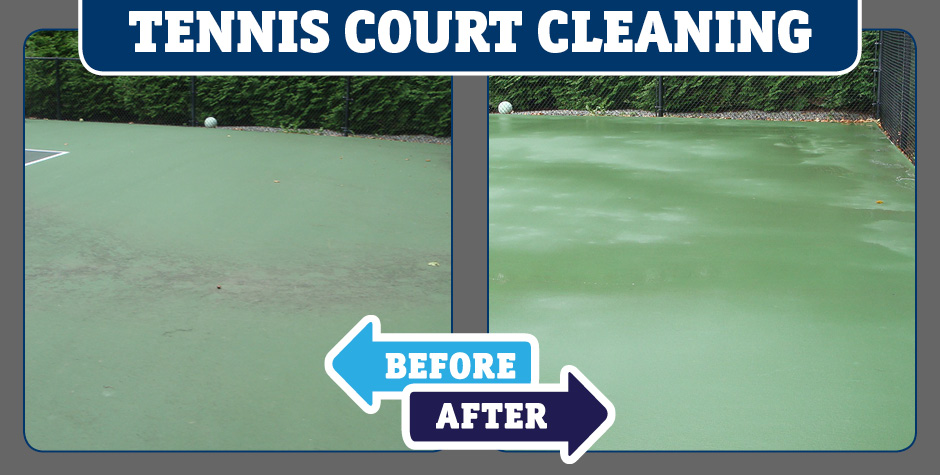 tennis court cleaning before and after